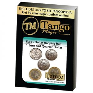 Euro-Dollar Hopping Half (1 Euro and Quarter Dollar) by Tango Magic-Trick (ED004)