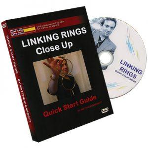 Close Up Linking Rings SILVER(BLACK BAG) (Gimmicks & DVD, SPANISH and English) by Matthew Garrett