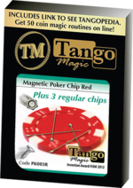 Magnetic Poker Chip Red plus 3 regular chips (PK003R) by Tango Magic
