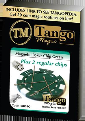 Magnetic Poker Chip Green plus 3 regular chips (PK003G) by Tango Magic