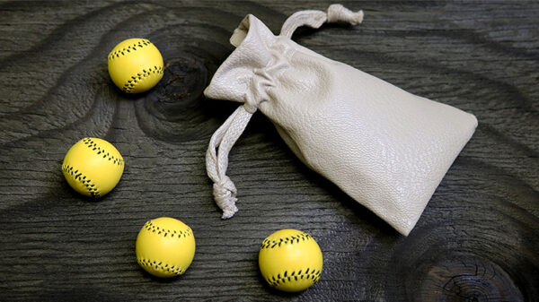 Set of 4 Leather Balls for Cups and Balls (Yellow) by Leo Smetsers