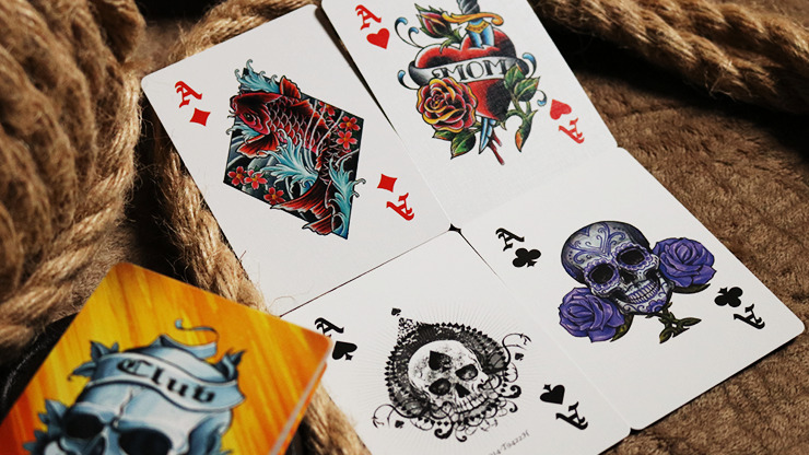 Bicycle Club Tattoo (Orange) Playing Cards