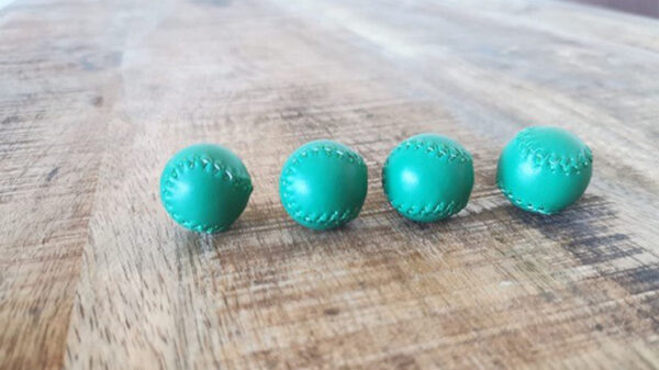 Set of 4 Leather Balls for Cups and Balls (Green) by Leo Smetsers