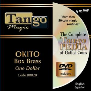 Okito Coin Box (BRASS w/DVD)(B0028) One Dollar by Tango Magic