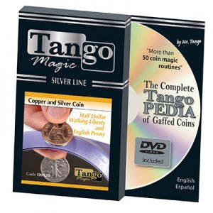 Tango Silver Line Copper and Silver Walking Liberty/English Penny (w/DVD) (D0120) by Tango