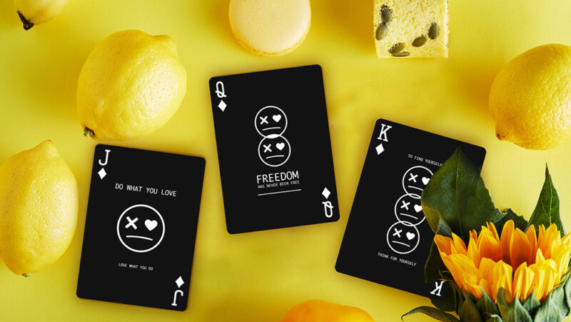 Keep Smiling Black V2 Playing Cards by Bocopo