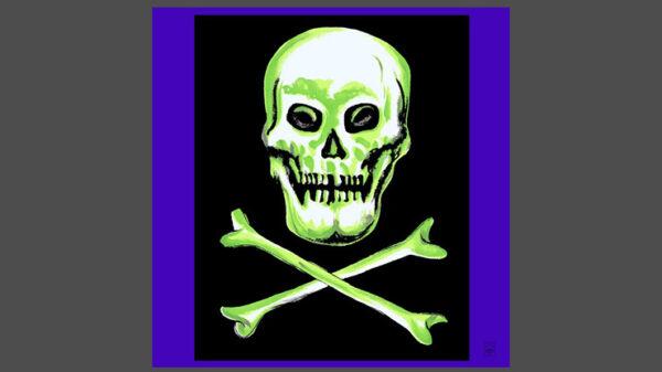 "Rice Symphony Silk 36"" (Skull and Cross Bones) by Silk King Studios"