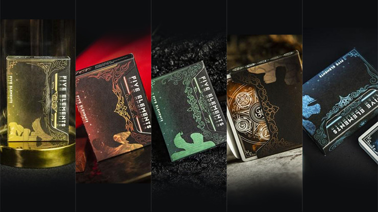 Five Elements Playing Cards Wooden Collection Set with 5 Dice by TCC