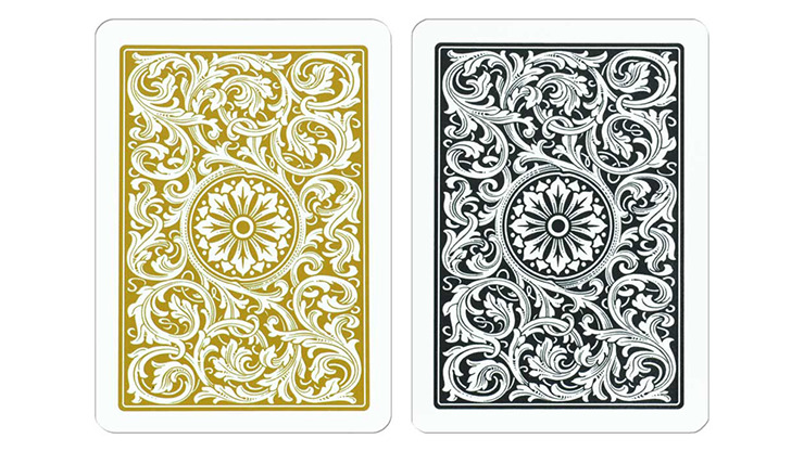 Copag 1546 Plastic Playing Cards Poker Size Regular Index Black and Gold Double-Deck Set