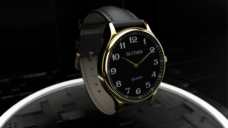 Infinity Watch V3 - Gold Case Black Dial / STD Version by Bluether Magic