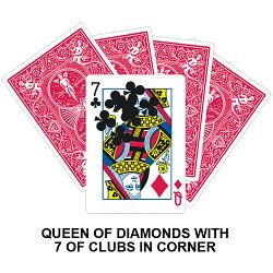 Queen Of Diamonds With Seven Of Clubs In Corner Card