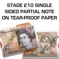 Tear Proof Stage Money 10 Pound Single Sided on A4 Sheet