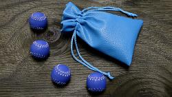 Set of 4 Leather Balls for Cups and Balls (Blue) by Leo Smetsers - Trick